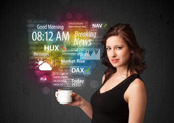 Businesswoman holding a white cup with daily news and informatio