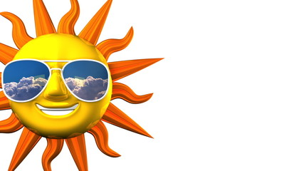 Smiling Sun With Sunglasses On White Text Space