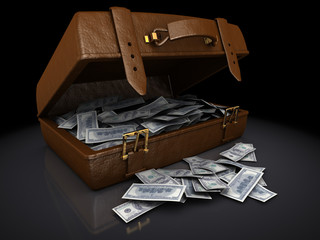 dollar bills in a brown suitcase