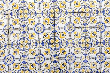 Azulejos pattern on the building in Pernambuco, Brazil.