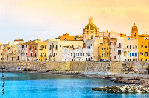 Trapani panoramic view of harbor, Sicily, Italy.