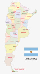 argentina administrative map with flag
