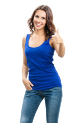 Young woman showing thumbs up gesture, on white