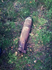 aerial bomb in the woods