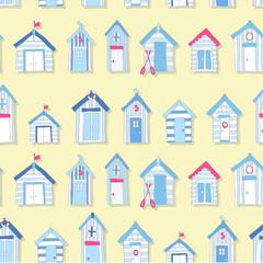 Hand Drawn Beach Huts in a Seamless Pattern