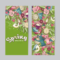 Set of vertical banners on the theme spring