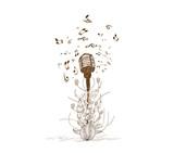 Beautiful doodle art microphone poster