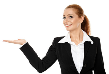 Businesswoman presenting product
