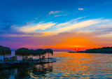 Beautiful sunset from a coast of Saronic gulf in Athens Greece