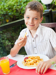 Child eating chips