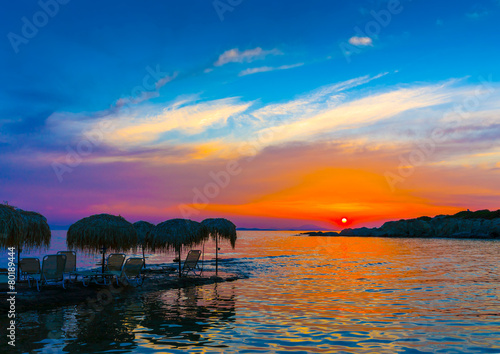 Beautiful sunset from a coast of Saronic gulf in Athens Greece - 80189444