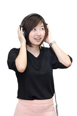 asian woman with headphones