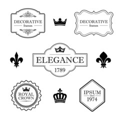 Set of vintage flourish frames, borders and design elements