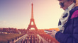 Texting messages - with Paris background.