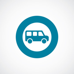 school bus icon bold blue circle border