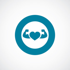 heart with muscle arms icon bold blue circle border