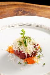 Fine dining, beef fillet tartare with horseradish