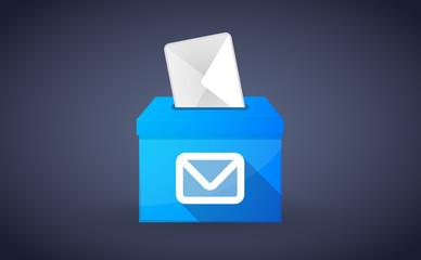 Blue ballot box with an envelope