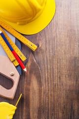 copyspace background set of tools handsaw tapeline pencil wooden