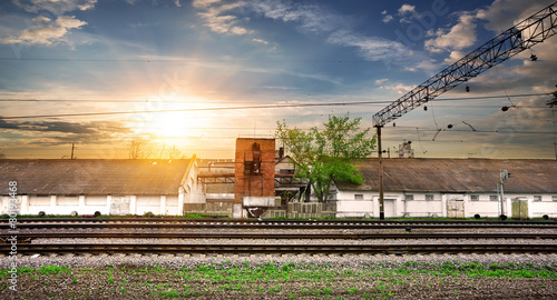 Poster Treinstation Rails and station