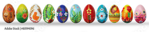 Hand painted Easter eggs isolated on white. Spring patterns - 80194096