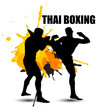 Thai boxer standing with grunge graphic - 80194492