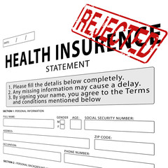 Health insurance statement with red rejected rubber stamp