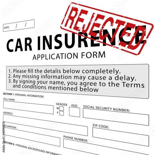 Illustration: Car insurance application form with red rejected rubber