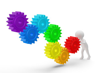 3d small person rolls a large rainbow colors gears . 3d image