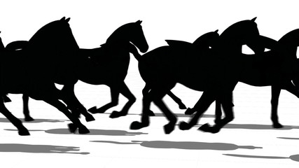 Silhouette of horses running side view, loopable