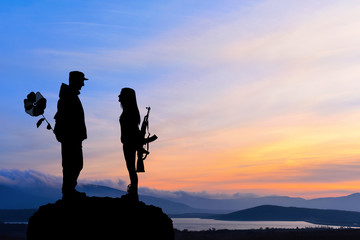Silhouette of peace and love versus war and anger. No war