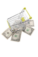 Dollars and grocery cart..