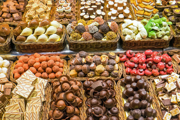 Chocolate and candy at the Boqueria in Barcelona