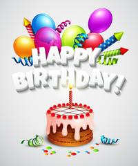 Happy birthday greeting card with cake and balloons. Vector