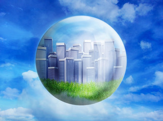Business buildings in bubble