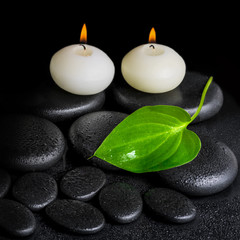 spa concept of two white candles and green leaf on black zen sto