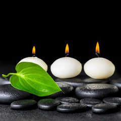 spa background of white candles and green leaf on black zen ston