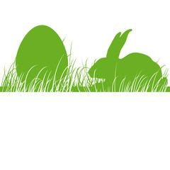 Osterhase, Osterei, Wiese, Silhouette