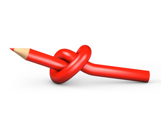 Red pencil tied in a knot