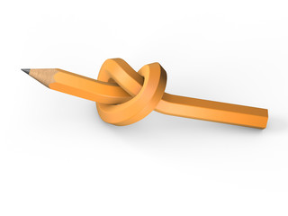 Pencil tied in a knot on a white background