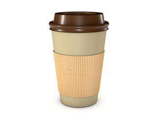 Takeaway coffee cup with lid isolated on white background