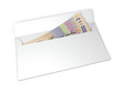 Постер, плакат: Bribe money in an envelope isolated on white background