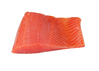 piece of red fish fillet isolated