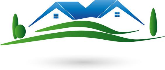 Logo, Immobilien, Zwei Häuser, Grundstück