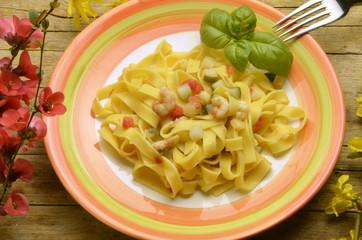 Tagliatelle shrimps e zucchine Cucina italiana Итальянская кухня
