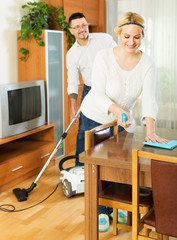 Family dusting and hoovering