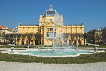 Fountain and art pavilion in center of Zagreb, Croatia