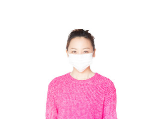 Young Japanese woman wearing a medical mask