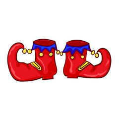 Red clown shoes with bells. Vector illustration.