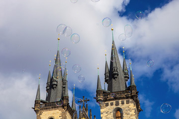 large soap bubbles beneath the Old Town Hall in Prague